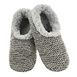 Snoozies - Slippers for Women - Textured Tweed Knit Sherpa Lined Womens Slippers - House Slippers for Women - Light Grey - Large