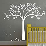 YOYOJOY White Family Tree Wall Decals Wall Tattoo Large Nursery Tree Decals Wall Mural Removable Vinyl Wall Sticker for Bedroom Decoration (White)