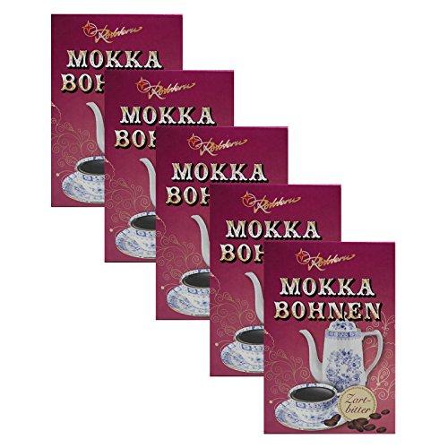 5er Pack Rotstern Mokka Bohnen (5 x 50 g) Zartbitterschokolade Ostprodukt, DDR