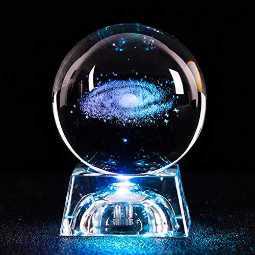Lionina 3D gravierte Kristallkugel, Inneneinrichtungen leuchtende Kristallkugel Nachtlicht, klare Galaxy-Glaskugel mit Sockel, Geburtstagsgeschenk für Kinder, Freund, Freundin Geschenk, Valentinstag