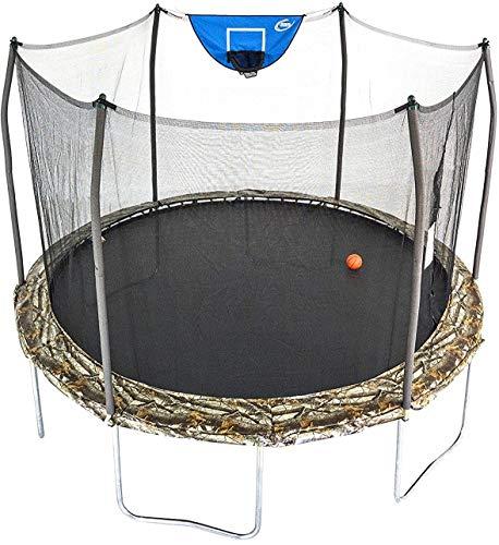 Skywalker Trampolines 12-Foot Jump N' Dunk Trampoline with Enclosure Net - Basketball Trampoline, Camo