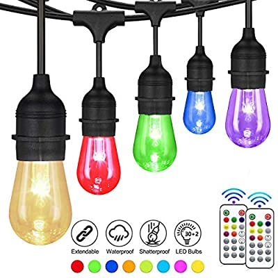 Svater Color Changing Outdoor String Lights,2 Pack of 50FT with 15pcs S14 LED Bulbs, Commercial Grade RGB Patio Lights with Dimmer