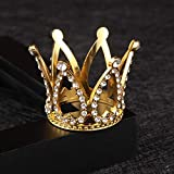 Gold Mini Crown Cake Topper Prince Princess Small Tiara Cupcake Toppers Baby Tiny Miniature Crowns Little Rhinestone Golden Newborn Crown For Crafts Photo Prop Decorations