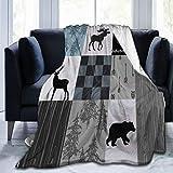 Carwayii Rustic Lodge Bear Moose Blanket Ultra Soft Fleece Throw Blanket Adventure Retro Tartan Bed Cover Thermal Noon Break Blanket Gifts for Home Office Camping Car