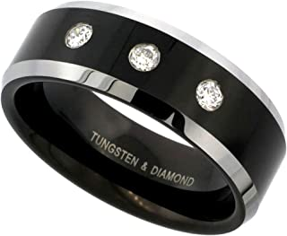 8mm Black Tungsten 3 Stone Diamond Wedding Ring Two-Tone Beveled Edges Comfort fit, Sizes 8 to 14