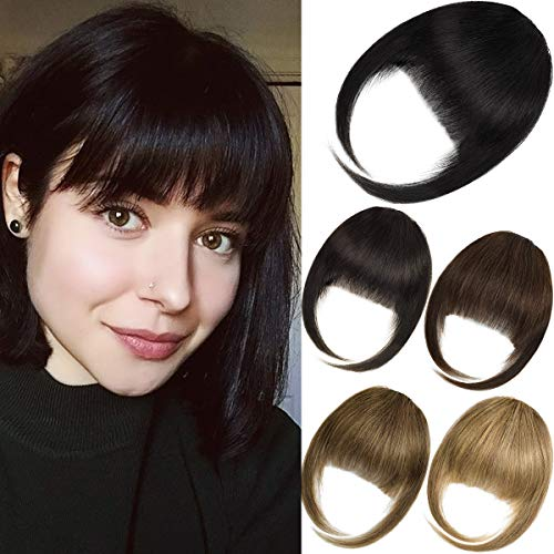 EMERLILY Bangs Hair Clip in Hair Extensions Human Hair Flat Front Face Air Fringe Bangs with Temples Real Human Hair Pieces for Women Light Brown