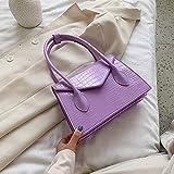 LIJ Umhängetasche für Damen, Handtasche, kleine Baguette-Tasche aus Leder violett