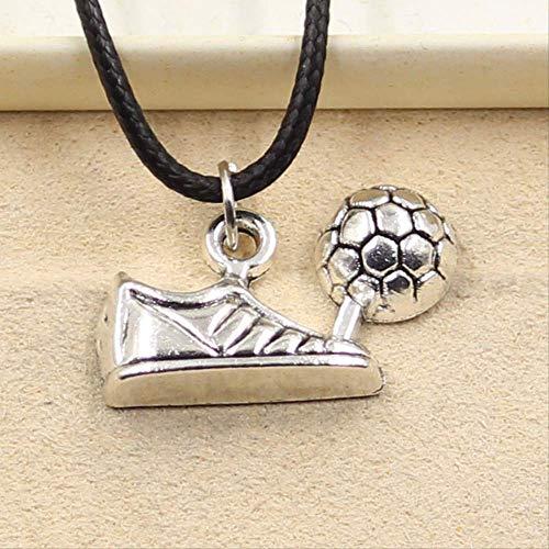 nobranded Neue strapazierfähige Schwarze Fußballschuhe aus Kunstleder Schuhe Cord Choker Charm DIY Halskette Anhänger Retro Boho Tibetan Silver Farbe