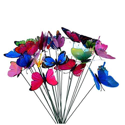 Odoukey Mariposa de simulación en el palillo Colorido jardín Patio de la Mariposa de la decoración para la Fiesta de Boda 10Pcs