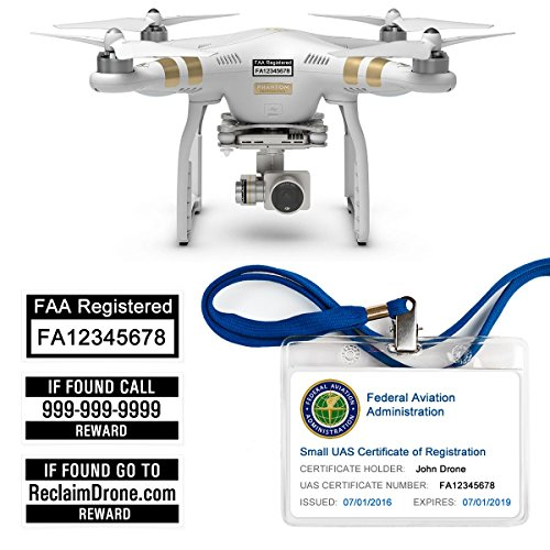 FAA Drone Labels (2 Sets of 3) + FAA UAS Registration ID Card for HOBBYIST Pilots + Lanyard and ID Card Holder