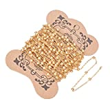 arricraft 10m/32.80 Feet Golden Chains, Brass Cable Chains with 3mm Balls, 1 Roll Chains for Necklace Jewelry Accessories DIY Making