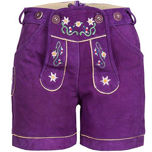Damen Trachten Lederhose mit Trägern Violett Größe 44