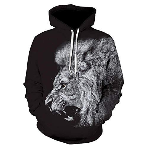 Preisvergleich Produktbild Sweatshirt Hoodies Männer 3D gedruckt Löwe für Männer Herbst Freizeit Mode Hoodie S-6XL M