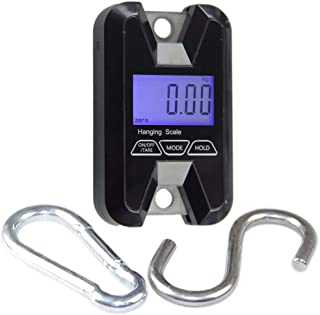 QAZAKY Portable Pocket Digital Scale Heavy Duty Double Hook Hanging Crane Smart Balance 60Kg 100 110 130 lbs Pounds Electronic Weight Shipping Parcel Fishing Hunting Luggage Postal