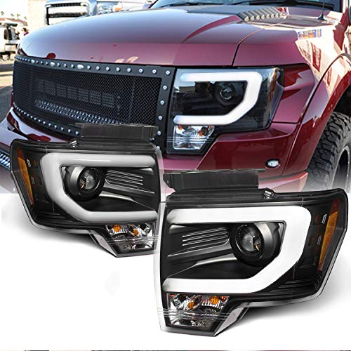 For Ford F150 F-150 Pickup Black Bezel DRL Daylight LED Strip Halogen Type Projector Headlights Lamps