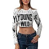 Women's Sports Tee Long Sleeve Crop Top T Shirts Young Wild Free Grunge