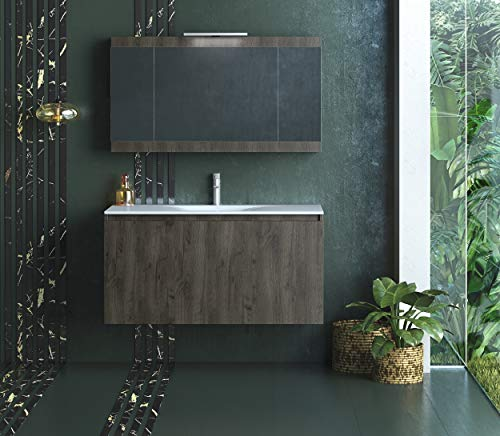 Belvedere Bath 36 Inch Floating Wall Mount Bathroom Vanity Sink Set Natural Grey Oak Finish With White Porcelain Top Modern Farmhouse Fits All Style Decor Buy Online In Fiji At