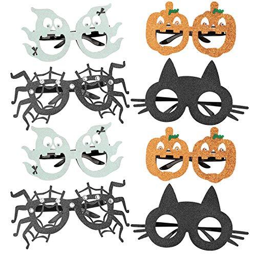 HOWAF 8 Stück Halloween Brillen für Kinder, Lustige Spinne Katze Kürbis Geist Halloween Kostüm Brille Foto Requisiten für Kinder Halloween Deko
