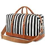 Weekender Overnight Bag Women Mens Duffel Bag Carry-on Travel Tote (Black 2)