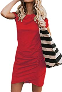 UUYUK Women Short Sleeve O-Neck Ruched Solid Bodycon T Shirts Mini Dress