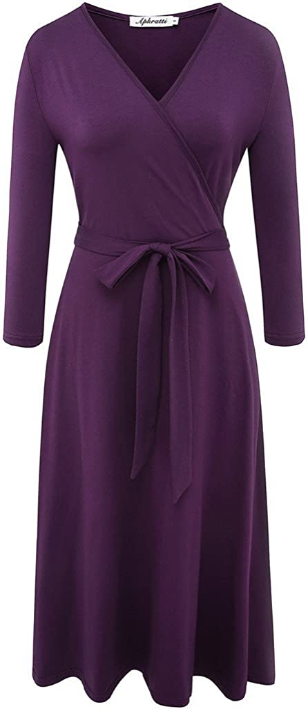 Aphratti Women's 3/4 Sleeve V Neck Faux Wrap Fit and Flare Work Casual Dress