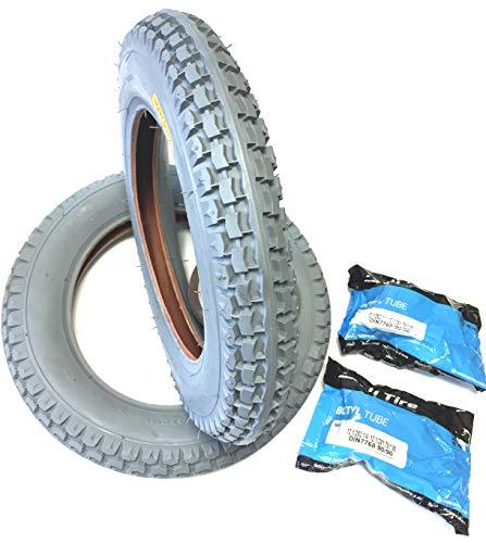 Rollstuhlreifen 2 Stück 12 1/2 x 2 1/4 (ETRTO 62-203) grau, 2 Stück Schlauch Winkelventil 90°/90°, Reifen verstärkt, kräftiger Reifenaufbau mit Blockprofil