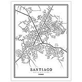 SKLHSIL Impresión De Lienzo, Panamá Santiago Mapa de la ciudad Simple Negro Blanco Minimalista Arte moderno Póster Imagen Mural Pintura Oficina Sala de estar Hogar Dormitorio Espacio Decoración Estil