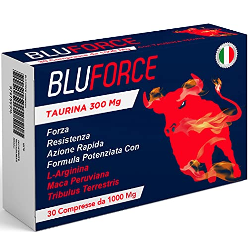 BluForce Pillole Da 1000 Mg   Con Taurina, Maca Peruviana, Arginina, Tribulus Terrestris   Azione Rapida e Potente   Integratore In Compresse Made In Italy 100% Naturale Originale   Energizzante