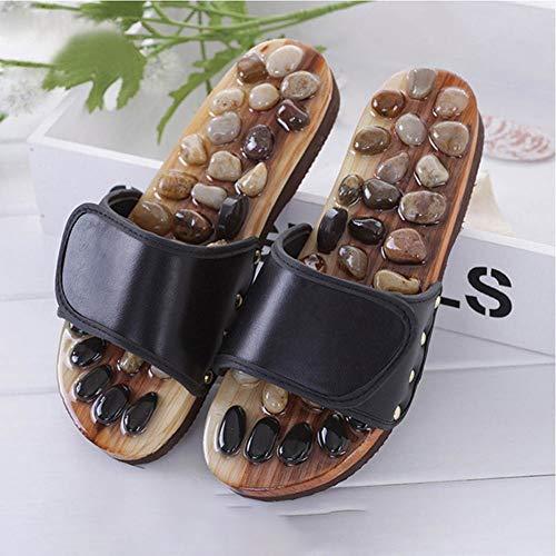 Pies verano Mujer Señora Pebble piedra del pie del masaje de reflexología zapatillas de acupuntura ancianos Zapatos Salud deslizadores de las sandalias Massager sano ( Color : B:Black , Talla : 36 )