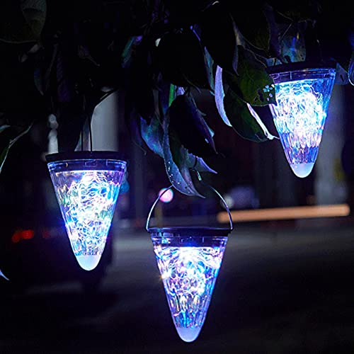 DELITLS Linterna solar, farolillos al aire libre, luces solares impermeables con mango decorativo para colgar para decoración de jardín, patio al aire libre (color)