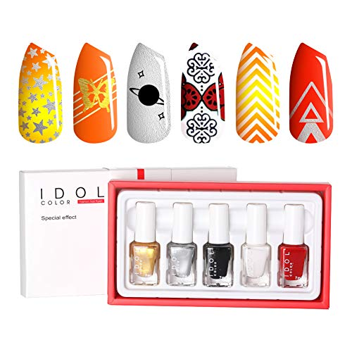 IDOL COLOR 7ML Stamping Nail Polish Nail Art Lacquer Polish Nail Stamping Gel Polish Pigmented Lacquer Black White for Manicure Printing Stamping Plate