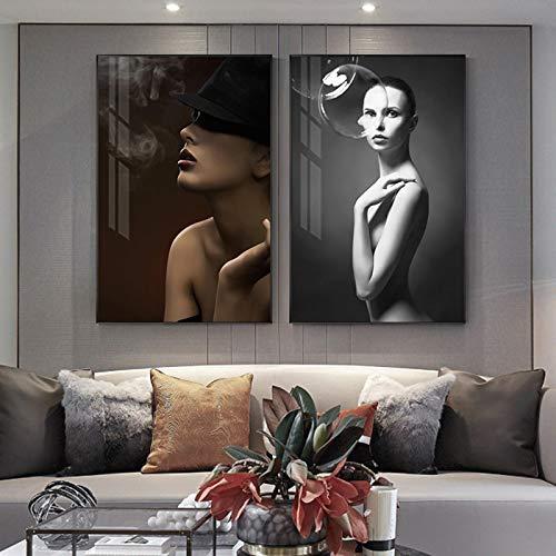 Gymqian Impresión de Arte Abstracto en Lienzo en Blanco y Negro Mujer fumadora Bubble Girl Imagen para Sala de Estar Decoración Moderna para el hogar Arte de Pared 50x70cmx2 Sin Marco