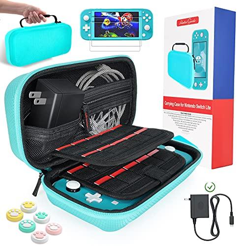 daydayup Tasche für Nintendo Switch Lite - Harte Hülle Case Tragetasche mit 2X Schutzfolie und 6X Daumengriffkappen, Aufbewahrung von 20 Spiele, Konsole & Zubehör - Blau