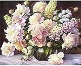 Pour Adultes Enfants Jouet Blanc Bouquet Vase Accueil Mur Art Décor Couleur Par Numéros Peinture Numérique Cadeau 40X50Cm-Avec Cadre