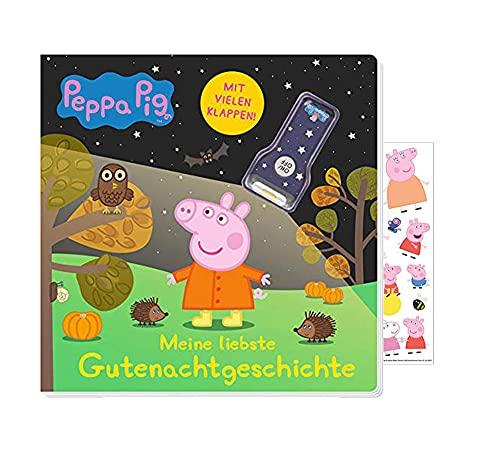 Buchspielbox Peppa Pig: Meine liebste Gutenachtgeschichte: Libro de fotos de cartón con solapas y linterna, pegatinas de Peppa Pig, libro de fotos de cartón a partir de 2 años