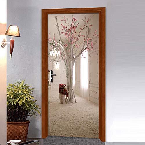 3D Wall Sticker Door Sticker Mural 3D Space Tree PVC Self Adhesive Waterproof Door Decoration
