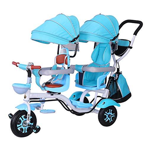 TCYLZ kinderwagen Dubbele Kinderen driewieler, Twin Baby kinderwagen Dubbele Seat Cart Kinderfiets Baby Buggy, Explosion-Proof Space Wheel, Voorstoel Roteerbaar, voor 1-6 Jaar oud