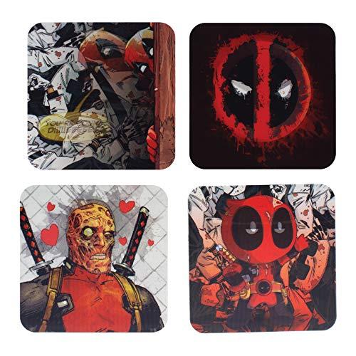 Paladone Posavasos Lenticulares Marvel Deadpool (4 Unidades), Approx. 8.8 x 8.8 cm