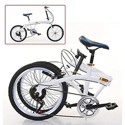 Bicicleta plegable de 20 pulgadas, 7 velocidades, freno de doble V, acero al carbono, plegable, 44T, color blanco