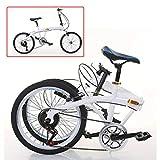 Aohuada 7 velocidades 20 pulgadas bicicleta plegable unisex regulable en altura blanca