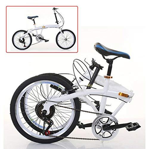 20 Zoll 7 Gang Fahrräder Faltrad Doppel-V Bremse Kohlenstoffstahl Klappfahrrad Klapprad Faltrad Folding 44T Bike Weiß