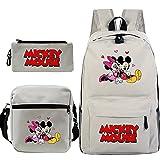 Tylyund Mochilas Mochila De Mickey 3 Unids / Set Mochila Para Niños Adolescentes Mickey Mouse Mochila Niñas Niños Gato Mochila Regalo De Regreso A La Escuela