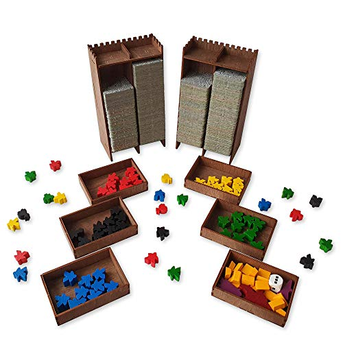 Smonex Wooden Carcassonne Board Game Organizer with 2 Towers - Box Suitable for Storage Carcassonne Base Game and Other Expansions - Kit Tiles and Meeple Box