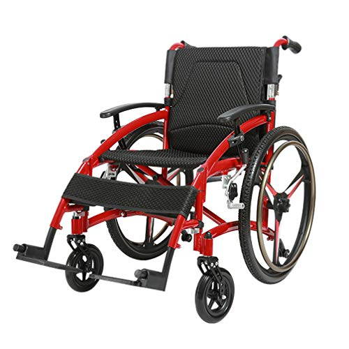Best Bargain Medical Wheelchair, Transport Chair, Folding Propelled with Solid Tires Handbrakes Comfortable Armrest Seat, 450 lbs/200kg, Red