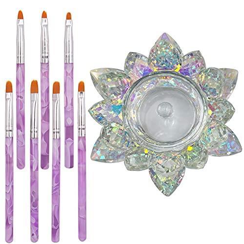 8 herramientas para el cuidado de la manicura,incluye 1 taza de loto de cristal con tapa y 7 pinceles para decoración de uñas,diseño de acrílico HOINCO, pintura en 3D, dibujo,gel UV juego de pinceles