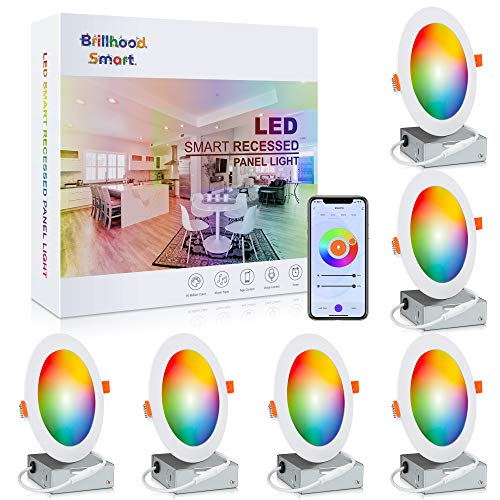 Brillihood 6 Inch Color Changing Slim LED Recessed Light, Smart WiFi Retrofit Downlights with Junction Box, ETL-Listed, 12W, 960LM, Dimmable, 2700K-6500K, Works with Alexa & Google Assistant, 6-Pack