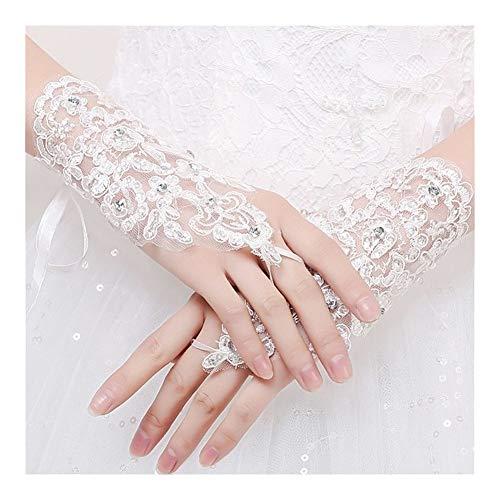 HNZZ Sports 1 Paar Mädchen Weiß Beige-Schwarz-Spitze Handschuhe Kommunion Blumen-Mädchen-Braut-Partei-Zeremonie Zubehör (Color : White)