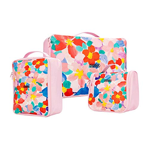 Laishutin Luggage Organiser Bag 3PCS Flower Pattern Packing Cubes Set For Travel Luggage Organiser Bag Compression Pouches Clothes Suitcase For Women Girl For travel (Color : Pink, Size : Free Size)