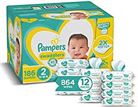 Diapers Size 2, 186 Count and Baby Wipes - Pampers Swaddlers Disposable Baby Diapers, ONE Month Supply with Pampers Sensitive Water Baby Wipes, 12X Pop-Top Packs, 864 Count (Packaging May Vary)