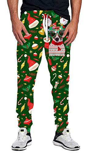 Idgreatim Women Men Ugly Christmas Joggers Cute 3D Dog Printed Xmas Sport Sweatpant for Running Gym M